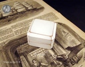 Antique white ring box.  Free shipping and engraving  RB 85