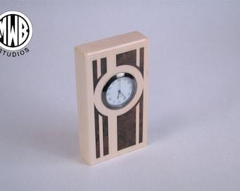 Miniature desk clock with inlaid deco design.  Free Shipping.   MDC-3