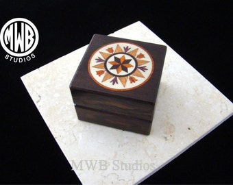 Inlaid Engagement ring box. Pennsylvania Dutch sign of good luck.  RB 64 Free shipping and engraving.