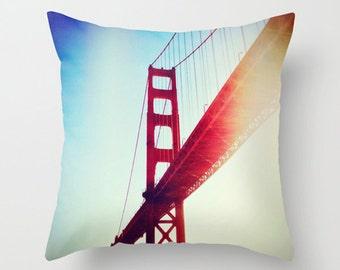 Golden Gate Sofa Pillow, San Francisco Accent Pillow, Red Throw Pillow Cover, 18x18 22x22 Decorative Pillow Cushion