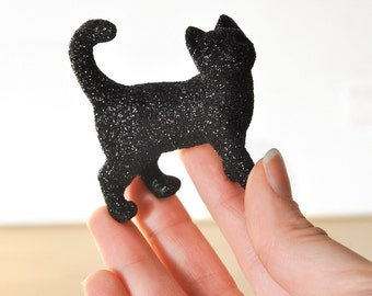 Black Glitter Critter Kitty Party Favor for Weddings,Table Settings, Fall Baby Showers, Nursery Decor or Birthday Party Centerpiece