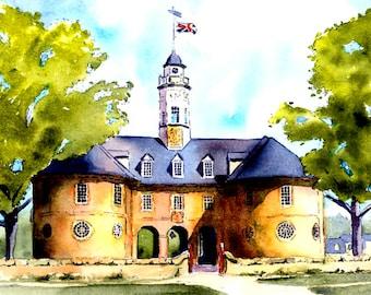 "Willamsburg Capitol Building, Colonial Williamsburg, Virginia, 11x14"" Mat size Print"
