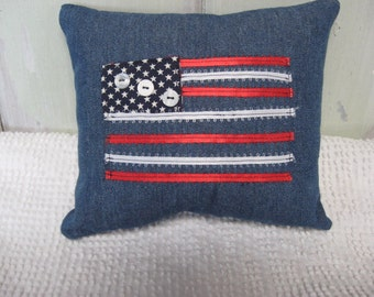 Pillow Americana Flag Pillow Small Denim Navy Red White Ribbons and Buttons Patriotic Home Decor