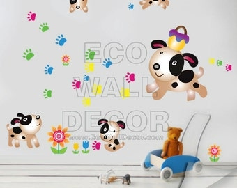 PEEL and STICK Kids Nursery Removable Vinyl Wall Sticker Mural Decal Art - Funny Patched Dogs with Puppy Footprints Decal
