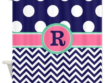 Pink Navy Chevron Polka Dots Fabric Shower Curtain - YOU CHOOSE COLORS