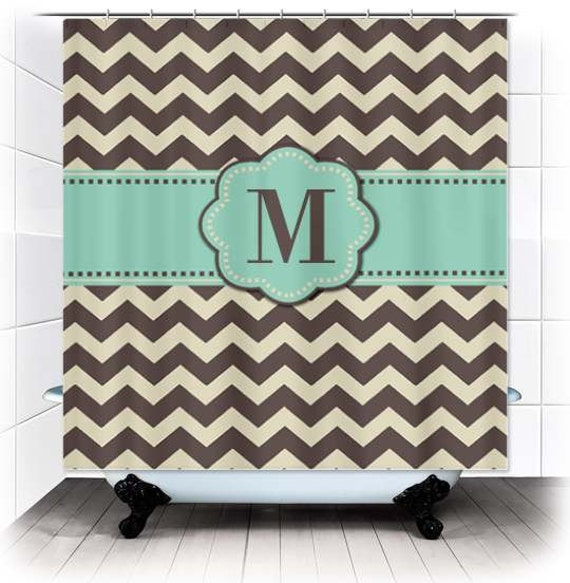 Items Similar To Brown Mint Chevron Monogram Fabric Shower