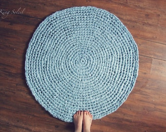 Crochet Rug Sky Blue Cotton Round Rug