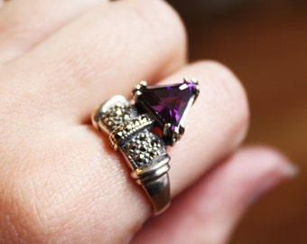 Vintage Art Deco Triangle Amethyst Ring / Sterling Silver and Marcasite Statement Ring / Size 8 3/4