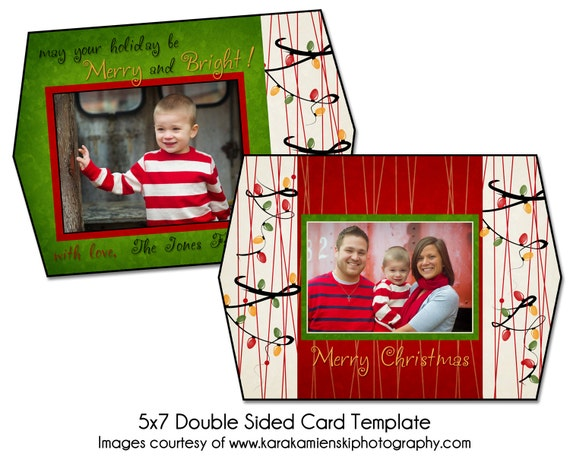 christmas card template light it up 5x7 double sided card. Black Bedroom Furniture Sets. Home Design Ideas