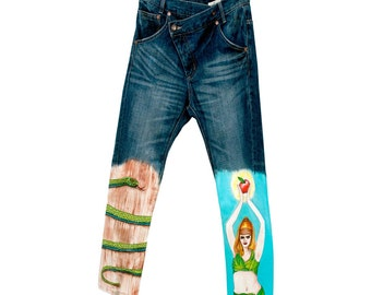 Drop crotch Jeans Customized hand painted Adam & Eve painted vintage denim size L M vintage One of a kind snake asymmetric carrot fit unisex