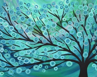 Turquoise Abstract Tree Painting - Teal & Turquoise Abstract Acrylic Tree Painting on Canvas by Louise Mead