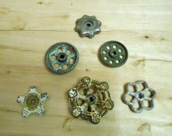 Vintage Industrial Salvaged Faucet Valve Handles set of 6 Rustic (lot AF)