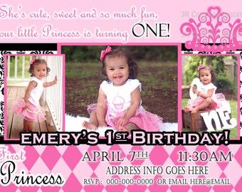 Princess Invite Princess Invitation 1st birthday Girl Invite 1st birthday invitation Princess Elegant Princess Damask Birthday Party Invite