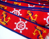 Vintage 50s Embroidered Nautical Novelty Ships Wheel Anchor Dress Trim Red Yellow & Blue 6+ Yards