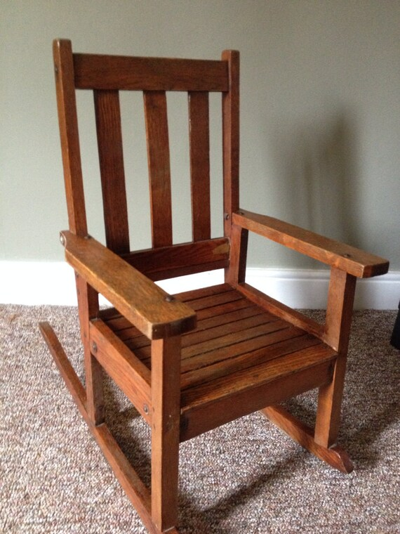 Items similar to Vintage child's rocking chair wooden ...
