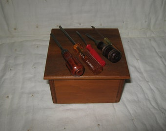 Vintage Wooden Box Square Filled With Tiny Screwdrivers