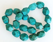 Strand Natural GreenBlue Arizona Turquoise Faceted Beads