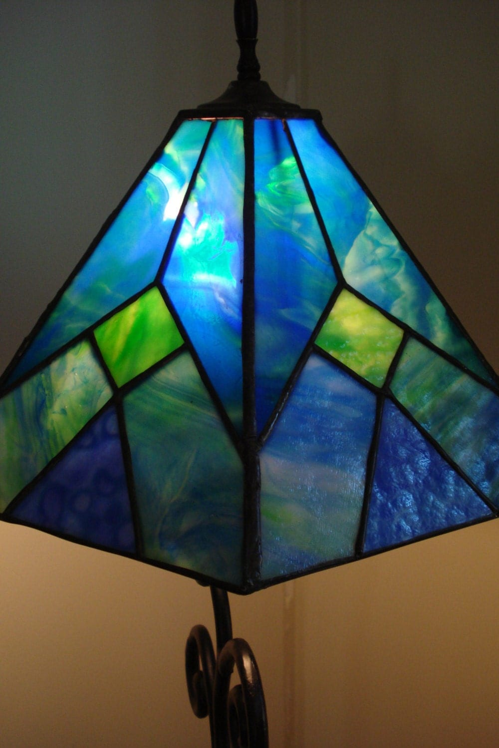 Blue And Green Six Panel Stained Glass Lamp Shade