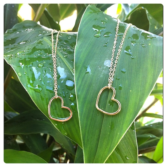 Floating Open Heart Necklace- beach jewelry, gold layered necklace, minamalist necklace, aloha, hawaii, kauai