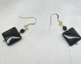 Real 14k Gold Earrings Black Onyx Earrings Dangle Earrings Gift For Her BuyAny3+Get1 Free