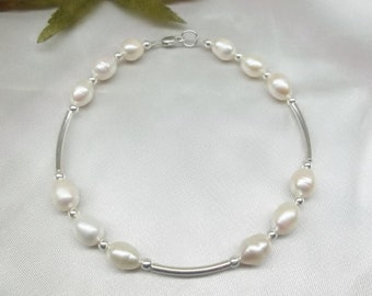 White Pearl Ankle Bracelet 925 Sterling Silver Anklet White Pearl Anklet Adjustable Anklet Ankle Jewelry Body Jewelry BuyAny3+Get1 Free