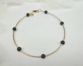 Black Onyx Ankle Bracelet Gold Heart Anklet Black Onyx Anklet Beach Anklet 14k Gold Anklet 14k Gold Filled Ankle Bracelet BuyAny3+1 Free
