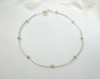 Starfish Anklet 14kt Solid Gold Anklet Sterling Silver Anklet Silver and Gold Anklet Real 14k Gold Anklet or Gold Filled Anklet Buy3+1Free