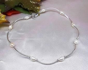 White Pearl Anklet Sterling Silver Anklet Heart Ankle Bracelet Freshwater Pearl Ankle Bracelet Sterling Silver Sterling BuyAny3+Get1 Free