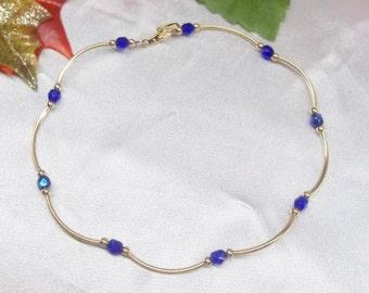 Dark Blue Sapphire Anklet Gold Anklet Crystal Saphire Anklet Dark Blue Anklet Anklet Crystal Anklet Gold Filled Anklet BuyAny3+1Free