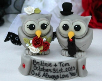 Halloween wedding cake topper, gothic wedding, custom love birds bride and groom, gothic cake topper