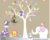 Childrens wall decals - nursery white tree decal - Jungle animal decals - 0235
