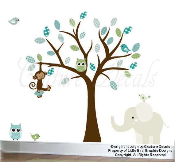Vinyl wall decal tree childrens jungle decal set - 0217