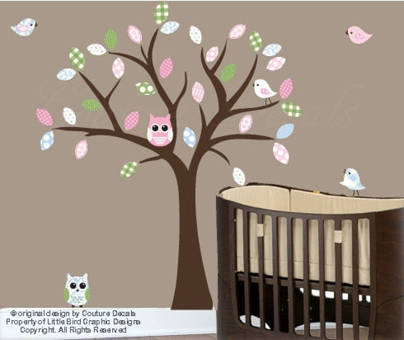 Items similar to girls tree wall decal patterned owls for Bird and owl tree wall mural set