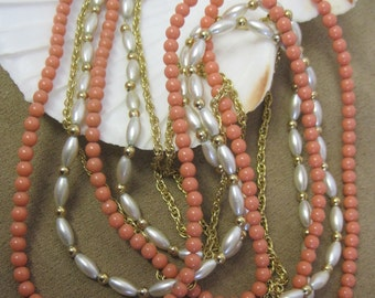 "Coral Pearl Gold Long Necklace Vintage 70s Strung on Chain Extra Long Faux Beads Beaded Necklace 30"" Beach Boho Delicate Art Deco Gatsby"