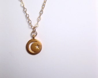 Moon and Star Coin Necklace 24k Gold Vermeil