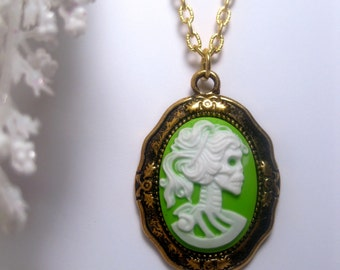 Skeleton Necklace - Day Of The Dead - Neon Green - Lady Lolita - Skeleton Cameo Necklace