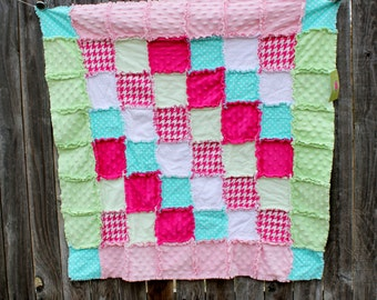Pink, Aqua & Green Rag Quilt/Blanket! Gorgeous pops of color perfect for baby shower or birthday gift, fabulous nursery bedding/quilt