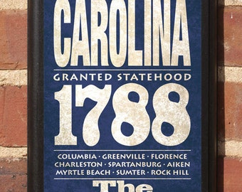 South Carolina State Wall Art Sign Plaque Gift Present Personalized Color Custom Charleston Clemson Columbia Myrtle Beach Antiqued