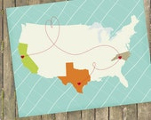 "Custom USA Map, Long Distance Relationship Gift, Love Map, Custom Map, Sizes 5""x7"" up to 42""x70"""