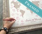 11x14 FRAMED Wedding Guest Book Alternative World Map  - Custom Wedding Gift - Custom Designed