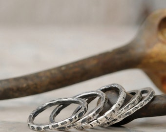 Stacking Rings - Fine Silver Stacking Rings - Rustic Stacking Ring Set of 5