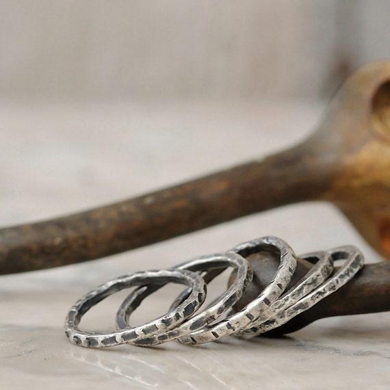 Stacking Rings - Fine Silver Stacking Rings - Rustic Stacking Ring Set of 5