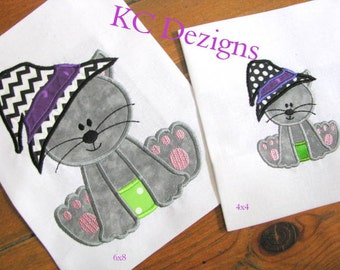 Halloween Cat With Witches Hat Machine Applique Embroidery Design - 4x4, 5x7 & 6x8