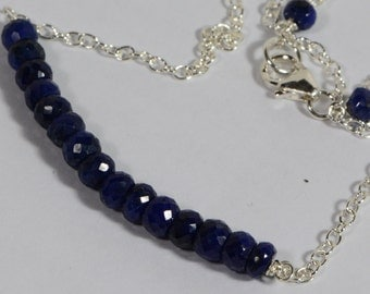 Sapphire  Bar Necklace Wire Wrapped On Sterling silver Natural Sapphire Jewelry