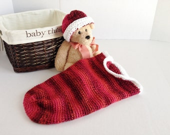 Crochet Baby Cocoon - Red with Fluffy White Trim - Baby Christmas Photo Prop