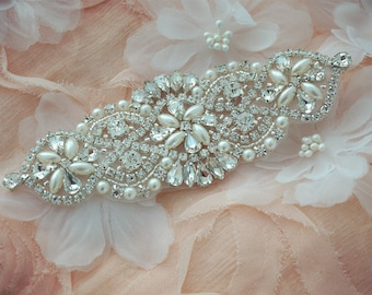 SALE beaded sash applique, rhinestone applique, crystal applique, wedding applique, bridal headpiece