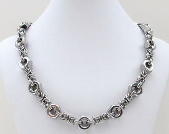 Stainless steel necklace, hex nut chainmail necklace for men, stainless steel jewelry