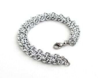 Vipera Berus chainmaille bracelet, silver aluminum