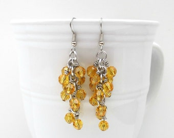 Sunny yellow crystal earrings, chainmail jewelry, crystal earrings, shaggy chainmail crystal earrings