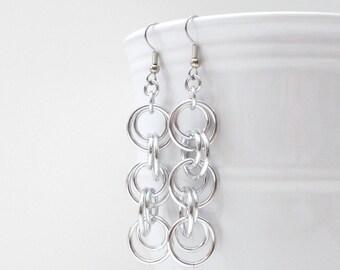Simple chainmail earrings, chain dangle earrings